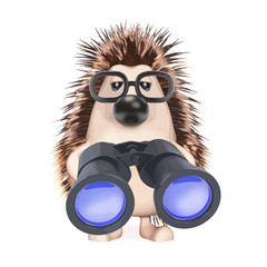 Vector 3d Hedgehog looks through binoculars