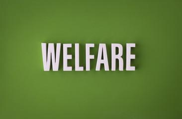 Welfare sign lettering