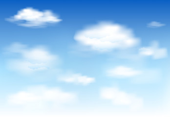 In the clear sky high floating clouds. White clouds on the blue sky