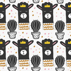 Cute seamless pattern with llama or alpaca and cactus. Animal pattern in scandinavian style. For children and kids. For textile,fabric, wrapping or poster