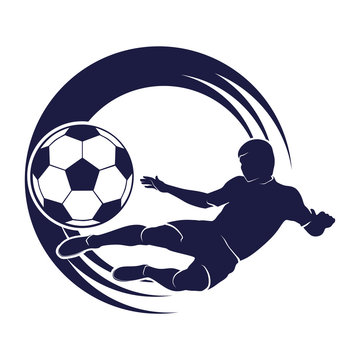 soccer emblem with a silhouette of the player and ball isolated monochrome picture