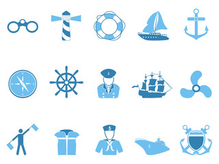 blue sailing icons set