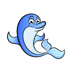 Cute dolphin vector illustration - flat design