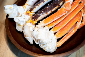 King Crab Legs on plate from Japan.