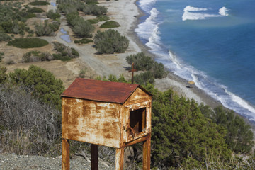 Beatiful seaview with an old miniature of chappel in Greece