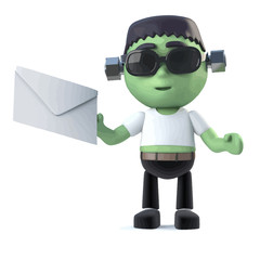 Vector 3d Child frankenstein monster has mail