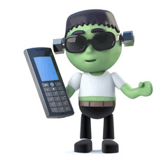 Vector 3d Child frankenstein monster holding a mobile phone