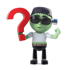 Vector 3d Halloween frankenstein monster has a question