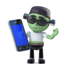 Vector 3d Halloween frankenstein monster has a smartphone tablet device