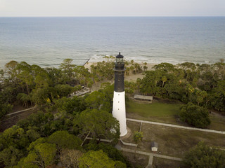 Aerial view of Hunting Island lighthouse and Atlantic Ocean in South Carolina
