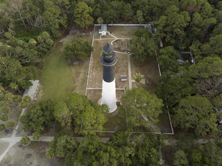 Aerial view of Hunting Island Lighthouse in South Carolina, USA.
