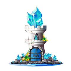 Fairytale tower with blue crystals