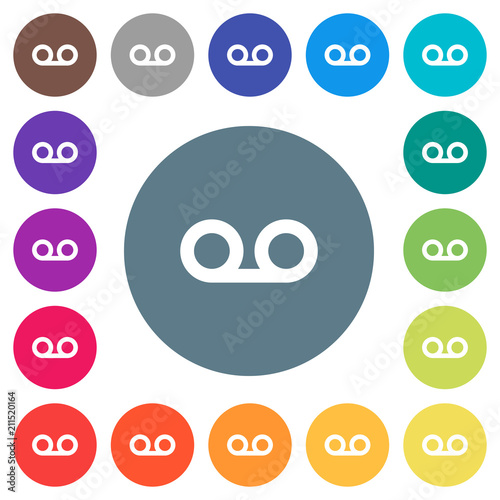 voicemail flat white icons on round color backgrounds stock image