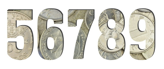 5 6 7 8 9 3d Numbers Shiny silver coins textures for designers. White isolated