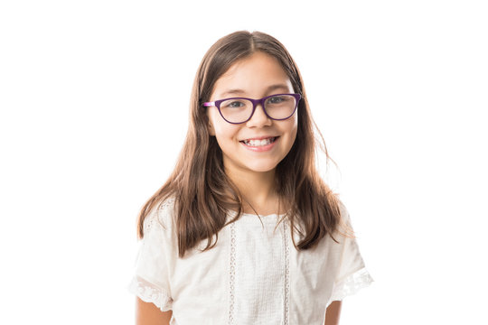 Lovely young girl with glasses isolated