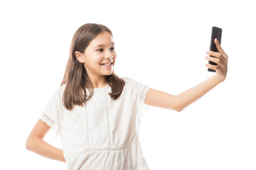 Girl taking photo with her smartphone