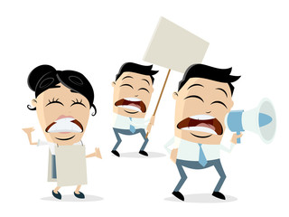angry demonstrators clipart