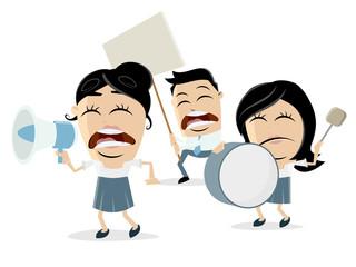angry cartoon demonstrators