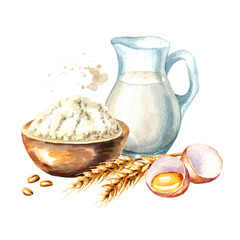 Cookig ingredients set. Broken egg, bowl of flour and  jug of milk. Watercolor hand drawn illustration, isolated on white background