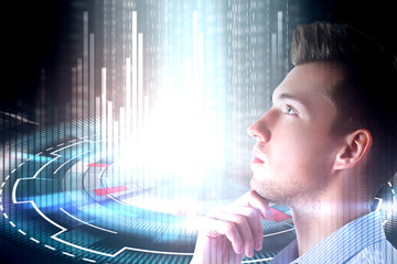 young man and cyberspace concept