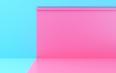 Scene with geometrical forms, color wall, minimal background, render