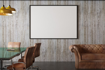 blank picture frame in conference room