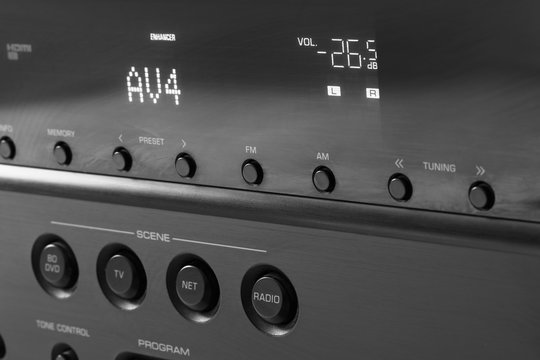Front side of the AV receiver with display and controls