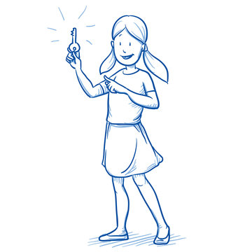 Happy young girl lifting a key, as concept for soluiton. Hand drawn cartoon doodle vector illustration.