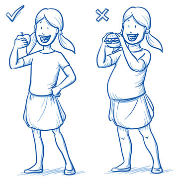 Two versions of happy young girl, a slim one eating an apple and a corpulent one eating a burger. Hand drawn cartoon doodle vector illustration.