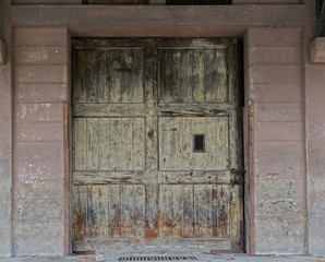 ISTANBUL - Sirkeci train station old warehouse wooden door