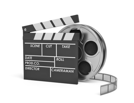 3d rendering of a video reel standing behind a black clapperboard with empty fields.