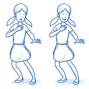 Surprised young girl in two emotions, happy, and startled. Hand drawn cartoon doodle vector illustration.