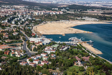 Tuzla, İstanbul, Türkiye - 25 Ağustos 2013; Istanbul, Tuzla county, restaurants and parks on the beach. Photo from helicopter.