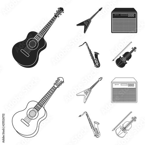 Electric guitar, loudspeaker, saxophone, violin Music