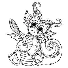 coloring. Funny cartoon little red sitting dragon. Vector illustration. Isolated icon on white background.
