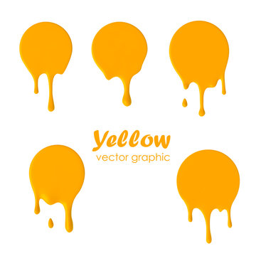 Dripping paint round icons. Current circle. Current yellow yolk logo.