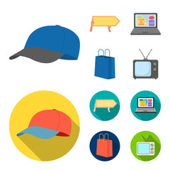 Baseball cap, pointer in hands, laptop, shopping bag.Advertising,set collection icons in cartoon,flat style vector symbol stock illustration web.