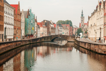 Brugge streets with canals in the early morning