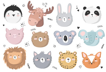 Vector set of cute doodle stickers with funny animals