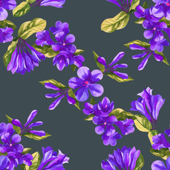 watercolor weigela flower seamless texture pattern background