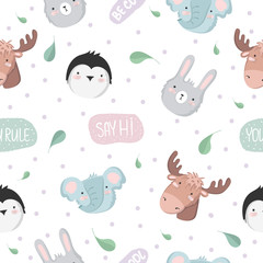 Vector seamless baby pattern with animals, text, leaves