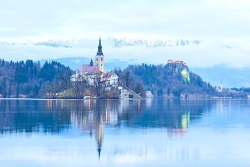 Lake bled church reflection