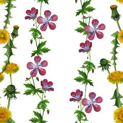 watercolor dandelions wildflowers seamless texture pattern background