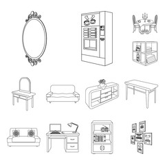 Furniture and interior outline icons in set collection for design. Home furnishings vector isometric symbol stock web illustration.