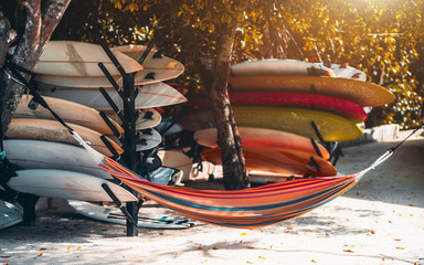 View of a multicolored hammock on a tropical resort stretched over coral sand on the beach between two trees with plenty of sport surfing boards around it of different vivid colors on the shelves