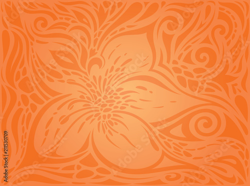 Flowers Orange Retro Style Colorful Floral Wallpaper Background Trendy Fashion Design