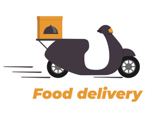 Food delivery design. Motorbike with box on the trunk. Food delivery service logo. Fast delivery. Flat vector illustration.