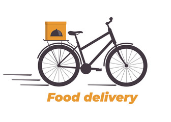Food delivery design. Bicycle with box on the trunk. Food delivery service logo. Fast delivery. Flat vector illustration.