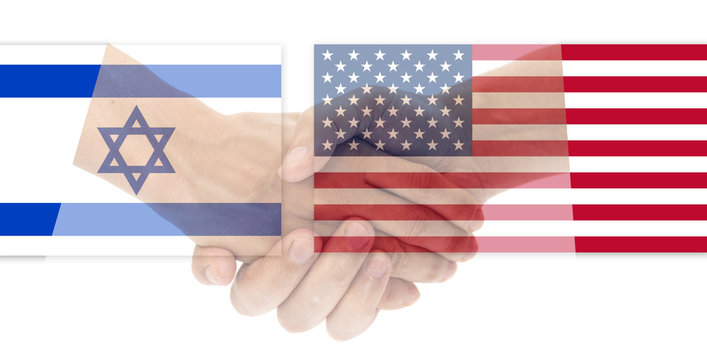 USA and Israel flag with handshake