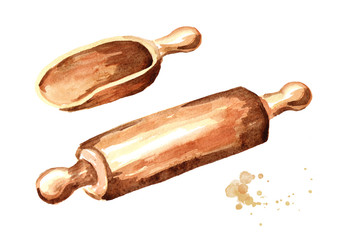 Wooden scoop and rolling pin. Watercolor hand drawn illustration, isolated on white background